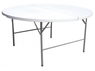 Kulatý cateringový skládací stůl - průměr 183 cm nabízí dostatečně velkou odkládací plochu, kterou můžete využít v bufetech, u stánků s rychlým občerstvením i na společenských slavnostech.