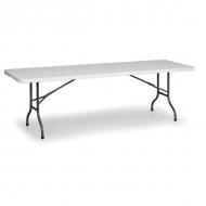 Středně velký cateringový stůl - délka 150 cm může sloužit jako stabilní výbava v bufetech a bistrech, nebo jako šikovná odkládací plocha při jednorázových akcích (svatbách, rautech, banketech).
