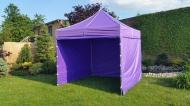 Stabilní nůžkový stan 3x3 m PROFI STEEL fialový s boky najde uplatnění na zahradách rodinných domů i na festivalech a jiných venkovních akcích.