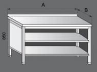 Nerezový pracovní stůl skříňový otevřený.