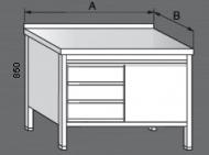 Nerezový pracovní stůl skříňový se zásuvkami a dvířky 1x.
