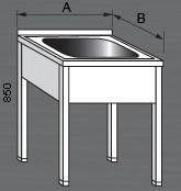 Nerezový mycí stůl prolisovaný s jedním dřezem. Varianty: 2 - bez police, 2P - s policí, 2R - s roštem.