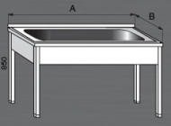 Nerezový mycí stůl velký prolisovaný s jedním dřezem.