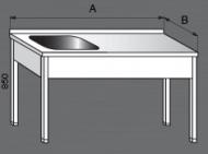 Nerezový mycí stůl s odkládací plochou 1x dřez.