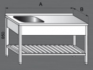 Nerezový mycí stůl s odkládací plochou a roštem 1x dřez.