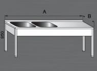 S nerezovým mycím stolem s odkládací plochou 2x dřez můžete za večer umýt desítky kusů talířů i sklenic. Stůl se vyrábí na zakázku.