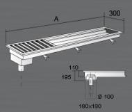 Nerezový podlahový rošt KRPS s výpustí a sifonem.