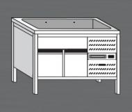 Nerezový stůl s chladící vanou 3x GN 1/1 a chlazenou spodní částí