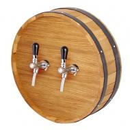 Výčepní stojan dno sudu kruh 40cm 2x kohout.