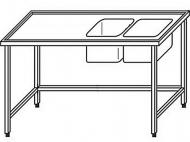Výčepní stůl 180x70x90cm 2x dřez 40x34x25cm vpravo.