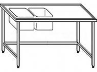 Výčepní stůl 180x70x90cm 2x dřez 40x34x25cm vlevo.