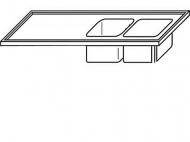 Výčepní deska 240x70x3,5cm 2x dřez 40x34x25cm vpravo.
