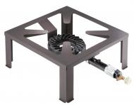 Plynový vařič MEGA ZEUS. Průmyslový vařič určený pro velkokapacitní ohřev, vyrobený z kvalitní litiny. Je vhodný pro stavebníky, silničáře, zemědělce atd.. Praktické na domácí zabijačky, přípravu krmiv apod.. Dodává se včetně regulátoru tlaku a hadice.