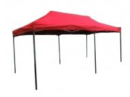 Nůžkový stan 6x3m DELUXE červený. Už žádné šroubování nebo skládání tyčí. Kovová konstrukce i veškeré spoje. Pevná a pevně napnutá plachta z dvojité nepromokavé netkané textilie. Možnost nastavení výšky nohou (4 stupně). Rozměry složeného altánu: 147x40x17cm. Hmotnost: 40kg. Konstrukce: ocelová, lakovaná kladívkovým (tepaným) lakováním. Velice stabilní a přesto mobilní přístřešek. Snadno a rychle rozložitelný max. do 2 minut.