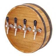 Výčepní stojan dno sudu kruh 50cm 4x kohout nerez. Tento výčepní stojan je díky nerezovým kohoutům vhodný pro čepování vína a limonád.