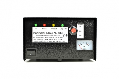 Náhradní zdroj NZ UNI - přístroj pro zálohování síťového napětí pro čerpadla ústředního topení do výkonu čerpadla 150W s toroidním transformátorem a lepšími vlastnostmi. Součástí přístroje je termostat, který může automaticky zapínat a vypínat čerpadlo v závislosti na teplotě. Teplotu je možné nastavit. Tento přístroj nahrazuje staré typy NZ200 a NZ300.
