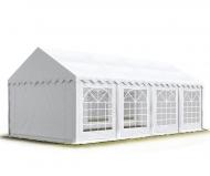Párty stan STANDARD 3x8 m bílý s pevnou konstrukcí a odnímatelnými bočnicemi s okny z PVC využijete během letní sezóny na celou řadu společenských akcí.