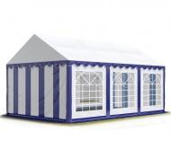 Prostorný párty stan STANDARD 4x6 m modro-bílý se hodí na pořádání narozeninových oslav, svatebních hostin i společenských akcí konaných pod širým nebem.