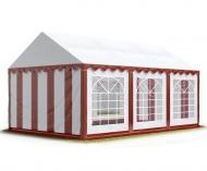 Prostorný párty stan STANDARD 4x6 m červeno-bílý se hodí na pořádání narozeninových oslav, svatebních hostin i společenských akcí konaných pod širým nebem.