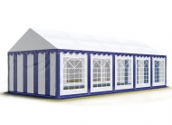 Pro větší venkovní akce se jako spolehlivé zázemí skvěle hodí modro-bílý párty stan STANDARD 4x10 m.