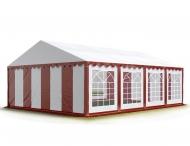 Téměř čtvercový párty stan STANDARD 6x8 m červeno-bílý s okny se hodí na takové venkovní akce, při kterých chcete mít co nejlepší přehled o dění uvnitř i venku - například při dětských dnech, svatebních hostinách apod.