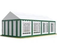 Téměř čtvercový párty stan STANDARD 6x8 m zeleno-bílý s okny se hodí na takové venkovní akce, při kterých chcete mít co nejlepší přehled o dění uvnitř i venku - například při dětských dnech, svatebních hostinách apod.