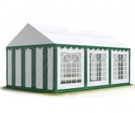 Párty stan PREMIUM 3x6 m zeleno-bílý je nejmenší variantou prémiových zahradních stanů a hodí se hlavně na malé soukromé akce a pro sezónní využití na zahradách rodinných domků.