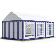 Středně velký párty stan PREMIUM 4x6 m modro-bílý poskytne přístřeší 15-30 lidem a ochrání návštěvníky před chladem, deštěm i sluncem.