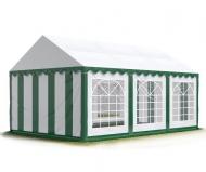 Středně velký párty stan PREMIUM 4x6 m zeleno-bílý poskytne přístřeší 15-30 lidem a ochrání návštěvníky před chladem, deštěm i sluncem.