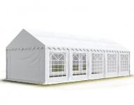 Bílý párty stan PREMIUM 4x10 m může sloužit jako bezpečné zázemí při pořádání soukromých i veřejných akcí pod širým nebem.
