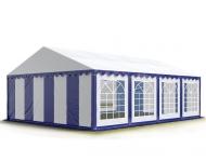 Párty stan PREMIUM 5x8 m modro-bílý s rozměrem parcely 40 m2 poskytne přístřeší až 80 lidem a umístíte do něj i potřebné vybavení pro vaše letní akce.