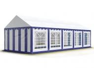 Prostorný párty stan 5x10 m modro-bílý se hodí na pořádání společenských akcí větších rozměrů, během kterých poskytne zázemí pro vybavení, catering i návštěvníky.