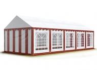 Prostorný párty stan 5x10 m červeno-bílý se hodí na pořádání společenských akcí větších rozměrů, během kterých poskytne zázemí pro vybavení, catering i návštěvníky.