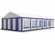 Odolný párty stan PREMIUM 5x12 m modro-bílý s parcelou 60 m2 pojme i přes 100 návštěvníků, kteří tu mohou tančit, bavit se nebo se jen schovat před deštěm.