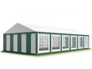 Odolný párty stan PREMIUM 5x12 m zeleno-bílý s parcelou 60 m2 pojme i přes 100 návštěvníků, kteří tu mohou tančit, bavit se nebo se jen schovat před deštěm.
