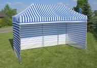 Stabilní nůžkový stan 3x3 m PROFI STEEL modro-bílý s boky najde uplatnění na zahradách rodinných domů i na festivalech a jiných venkovních akcích.