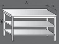 Nerezový pracovní stůl se dvěmi policemi.