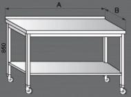 Nerezový pracovní stůl pojízdný.