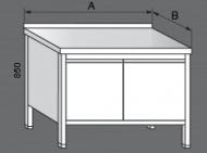 Nerezový pracovní stůl skříňový dvoukřídlový.