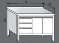 Nerezový pracovní stůl skříňový se zásuvkami a dvířky 2x