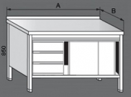 Nerezový pracovní stůl skříňový se zásuvkami a posuvnými dvířky.