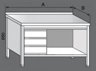 Nerezový pracovní stůl otevřený se zásuvkami