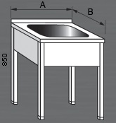Nerezový mycí stůl s jedním dřezem
