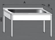 Nerezový mycí stůl velký s jedním dřezem.