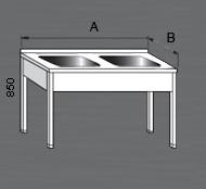 Nerezový mycí stůl s dvěma dřezy. Varianty: 2 - bez police, 2P - s policí, 2R - s roštem.