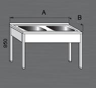 Nerezový mycí stůl prolisovaný se dvěma dřezy. Varianty: 2 - bez police, 2P - s policí, 2R - s roštem.