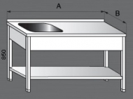 Nerezový mycí stůl s odkládací plochou a policí 1x dřez.