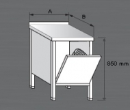 Nerezový zásuvný blok pro odpadkový koš.