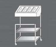 Nerezový výdejní vozík pro tácy a příbory.