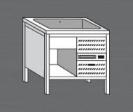 Nerezový stůl s chladící vanou 2x GN 1/1